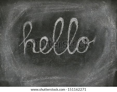 HELLO written with chalk on black chalkboard