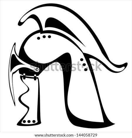 helm knight isolated on white background - stock photo
