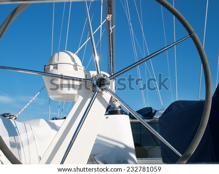 helm station on sailing boat - stock photo