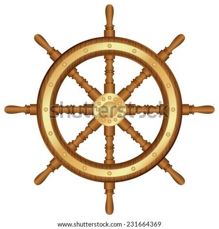 helm wheel illustration. - stock photo