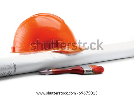 helmet and paper roll - stock photo