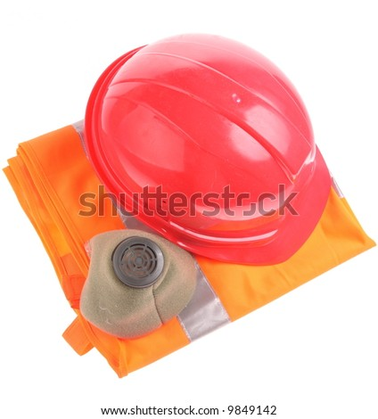 Helmet and respirator over white - stock photo