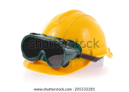 helmet and Safety glasses isolated on a white background.