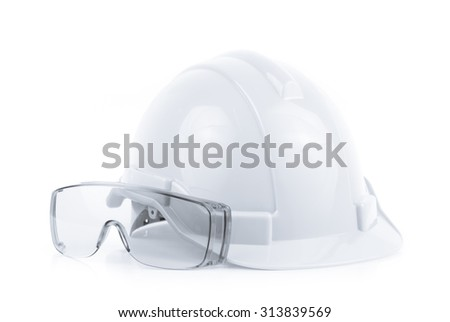 Helmet and Safety glasses isolated on white background