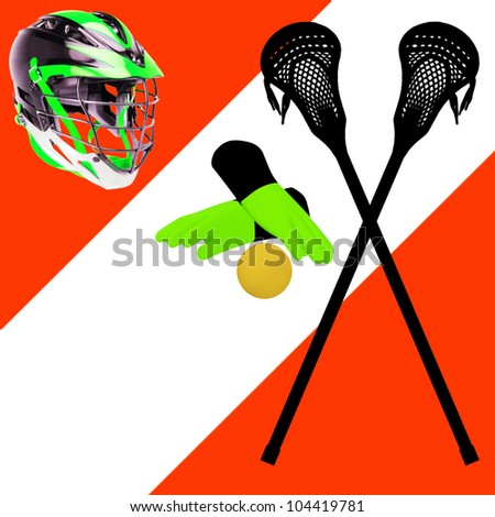 Helmet, ball, stick and gloves for lacrosse - stock photo