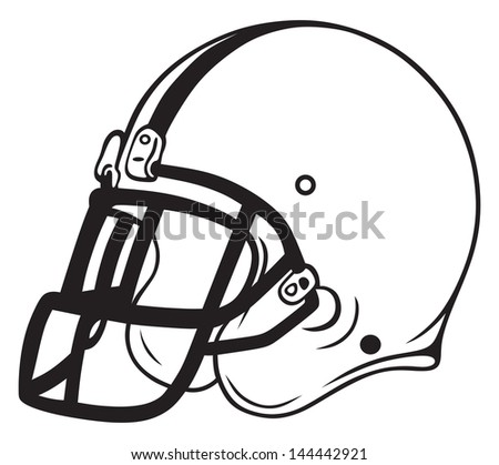 Helmet football isolated on white background. Raster version - stock photo