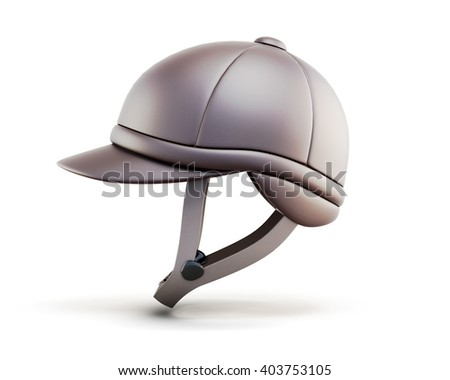 Helmet for horseriding isolated on white background. Side view. 3d render image. - stock photo