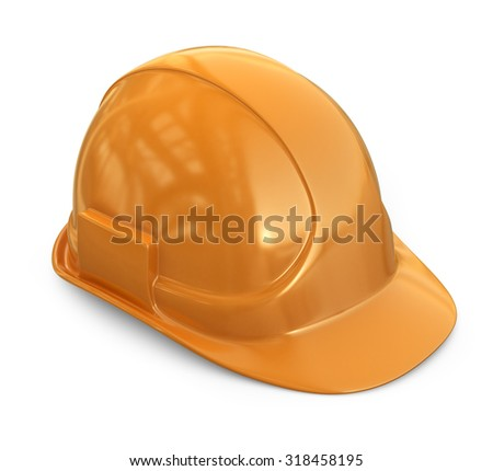 Helmet, hardhat. 3D Icon isolated on white background - stock photo