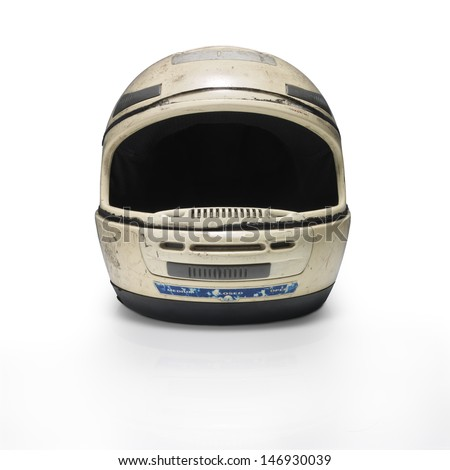 Helmet motorcycle.  Front view. Clipping path - stock photo