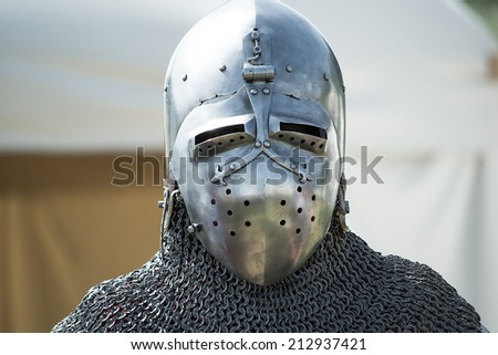 helmet of a medieval knight armor - stock photo