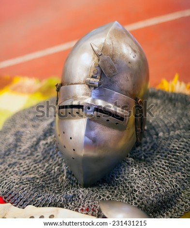 Helmet of ancient medieval Knights armour  - stock photo