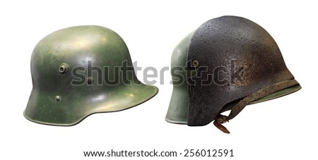 Helmet of the German Army during World War II with extra protective plate. On a white background - stock photo