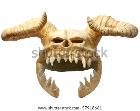 helmet of the skull of horned monster  (with Clipping Paths) - stock photo