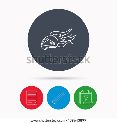 Helmet on fire icon. Motorcycle sport sign. Calendar, pencil or edit and document file signs.  - stock photo