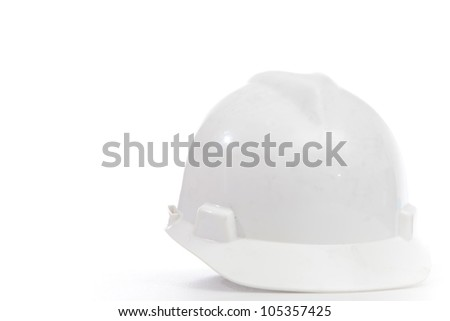 Helmet on white isolated for wear when working at site or workshop - stock photo