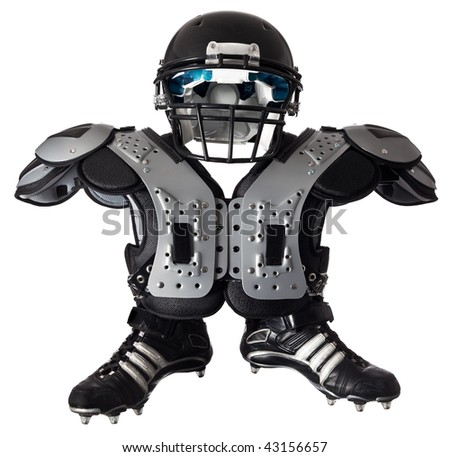 helmet shoulder pad and boots on white - stock photo