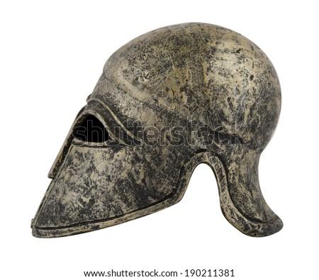 helmet spartan on white background - stock photo