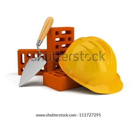 helmet with bricks and trowel. 3d image. Isolated white background. - stock photo