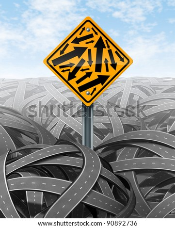 Help and Customer Service symbol with a yellow road sign with multiple arrows in different directions on a background of tangled streets as a symbol of confusion of complicated challenges. - stock photo