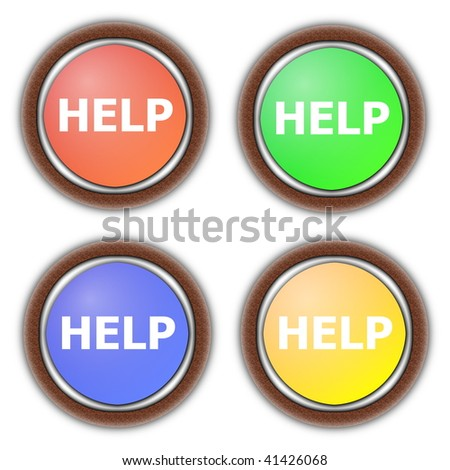 help button collection isolated on white background