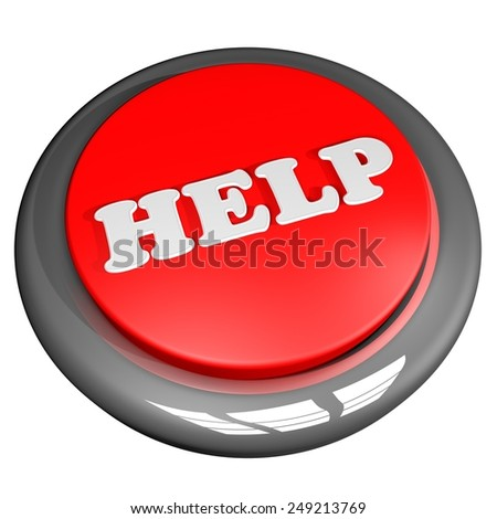 Help button isolated over white, 3d render - stock photo