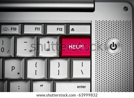Help button on computer keyboard. - stock photo