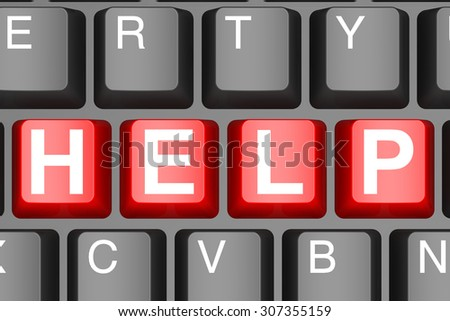 Help button on modern computer keyboard image with hi-res rendered artwork that could be used for any graphic design.