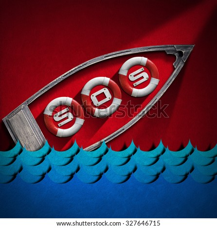 Help Concept - Lifebuoys Boat and Waves / Red and white lifebuoys in a small wooden boat with text SOS and blue sea waves in a red velvet background. Help concept - stock photo