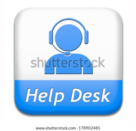 help desk blue button or online support call center customer service - stock photo