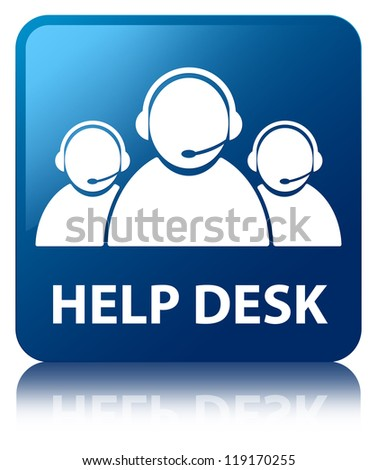Help desk (customer care team) glossy blue reflected square butt - stock photo