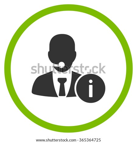 Help Desk glyph icon. Style is bicolor flat circled symbol, eco green and gray colors, rounded angles, white background. - stock photo