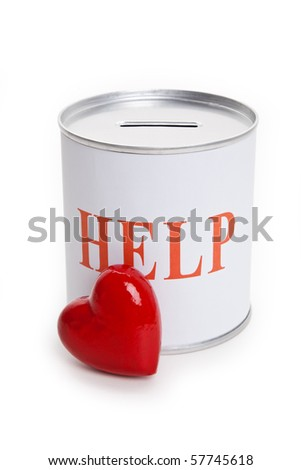 Help, Donation Box and Red Heart, Concept of Care and Love - stock photo