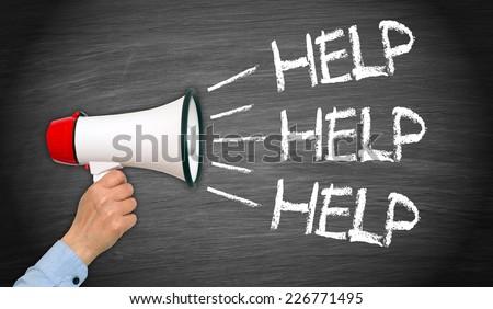 HELP - female hand with megaphone - stock photo