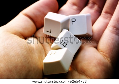 HELP - keyboard in a hand ! Close-up with great details ! - stock photo