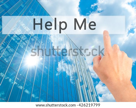 Help Me - Hand pressing a button on blurred background concept . Business, technology, internet concept. Stock Photo