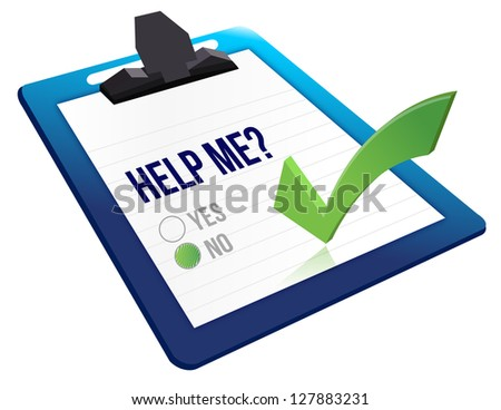 Help me? no check boxes illustration design over a white background - stock photo