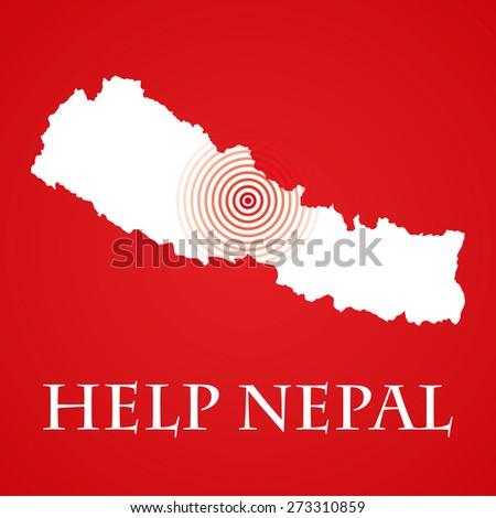 Help Nepal message - stock photo