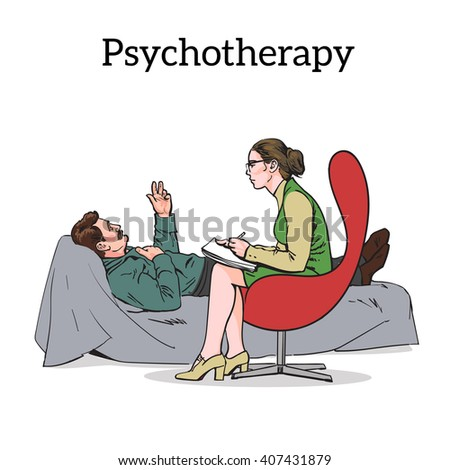 Help psychologist. Psychotherapy. Consulting psychologist doctor. Psychologist listens to patient. Psychologist evaluates the patient. Psychologist solves the problem. Medical counseling, psychologist - stock photo