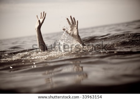 Help! Seeking rescue. Toned image. - stock photo