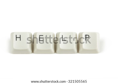 help text from scattered keyboard keys isolated on white background