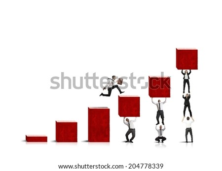 Help the statistics of the company with running businessman - stock photo