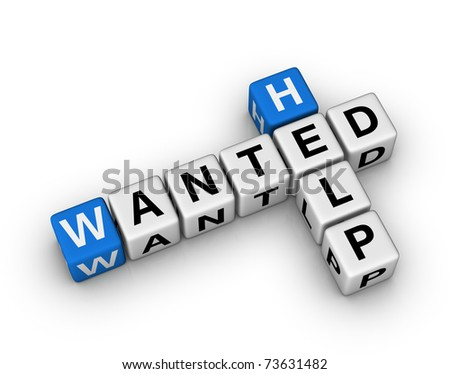 Help Wanted crossword sign - stock photo