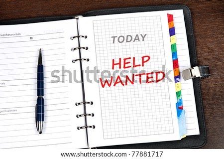 Help wanted message on today page - stock photo