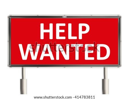 Help wanted. Road sign on the white background. Raster illustration. - stock photo
