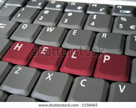 Help word on keyboard - stock photo