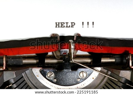 help  written with black ink with the typewriter