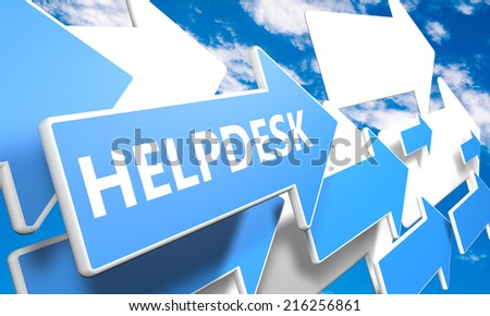 Helpdesk 3d render concept with blue and white arrows flying in a blue sky with clouds - stock photo