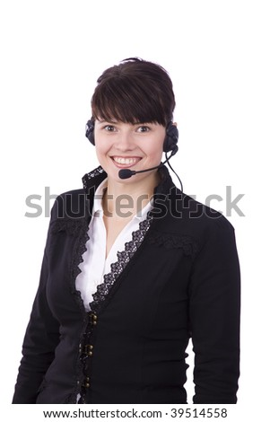 Helpdesk or support operator. Successful  businessman is speaking over the headset with a microphone. How can i help you?