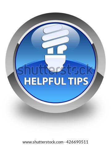 Helpful tips (bulb icon) glossy blue round button - stock photo