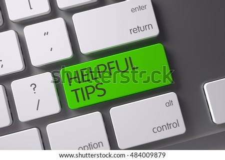 Helpful Tips Concept: Metallic Keyboard with Helpful Tips, Selected Focus on Green Enter Button. 3D Render.